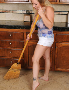 Gigantic Breasted 30 Year Old  Cougar Allyza Blue Gets Down and Dirty in the Kitchen