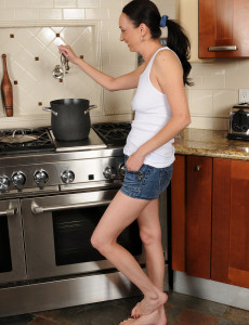 Pale  Wife Beth M from  Milfs30 Opens Up Her Gams in the Kitchen