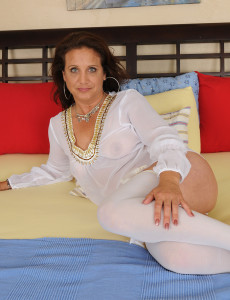 43 Year Old Chane Looking Super Beautiful in Her Lace and White Pantyhose