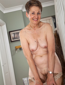 Clean shaven in her pantyhose