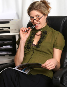 Older Office Girl Delilah Gets Down and Dirty on Her Desk in Here