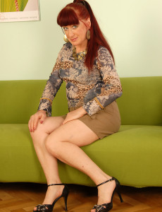 Redheaded Esmeralda Splits Her  Twat with Her Blank Underwear