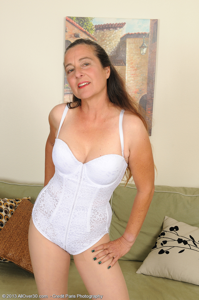Long Haired  Wife Nicola from  Milfs30 Glides off Her White Knickers