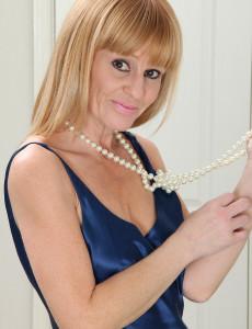 Thin  Mom Penelope Glides off Her Elegant Blue Dress Just for You