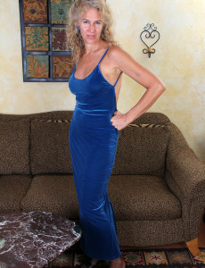 Super  Super  Super Horny and Elegant 54 Year Old Sabrina P Slide out of Her Blue Dress