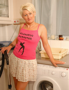 Blond Haired Sally T from  Milfs30 Plays with Her Pierced  Twat in Here