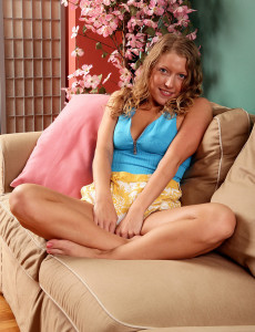 Blond Haired 30 Year Old Sara C Demonstrating off Her  Hot Soles and Sweet  Hoo Ha