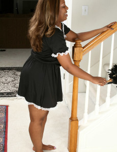 Starr a from  Milfs30  Opens Her Ebony   Caboose After Dusting the Stairs