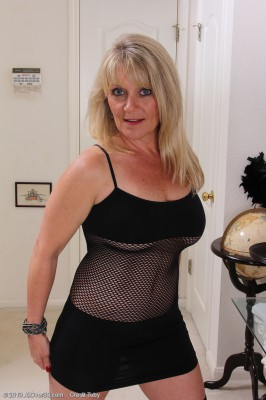 Kinky  Blond 48 Year Old Sherri Donovan in Fishnet Panties Posing