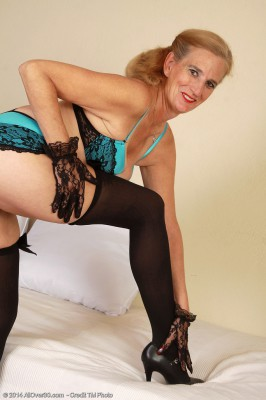 Crazy 52 Yr Old Ray Lynn Glides off Her Blue Knickers and  Opens