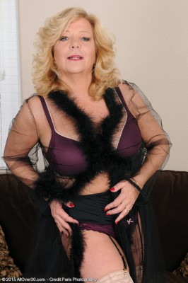 52 Year Old Karen Summer from  Milfs30 Glides off the Female Purple  Undies