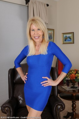 Elegant 60 Yr Old Erica Lauren Slip Through the Woman Smooth Blue Dress