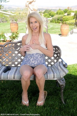 60 Yr Old Erica Lauren Plugs Her  Old Wooly Pussy Within the Backyard