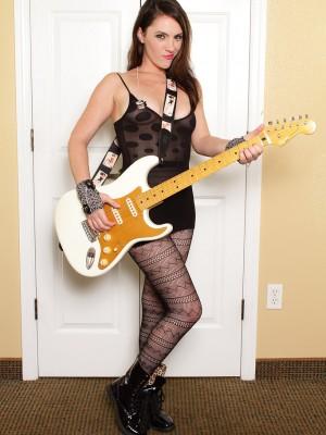 Ravishing Rocker Charlotte Davis in Sheer Tights