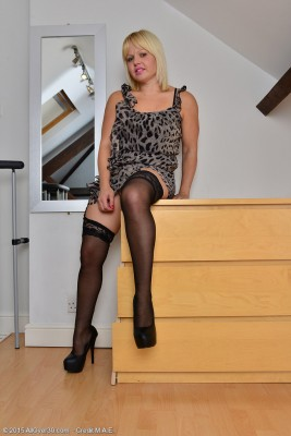 Blond Haired Sexpot Sophie May  Undresses Down Along with the Dresser