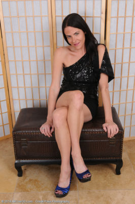 Passionate Raven Haired Maggie K Has an Attractive Short Ebony Dress and Also Hotter Blue Your Rearfoot Footwear on