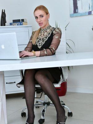 Leggy  Blond Haired Afina Kisser Shows Her Secretary Style