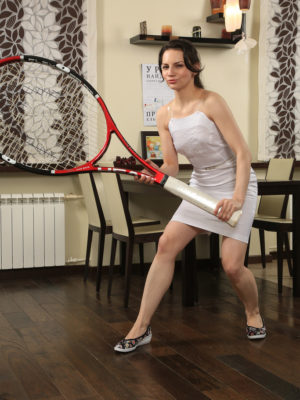 Sexy Candice Works Along with Her Meaty Tennis Racket