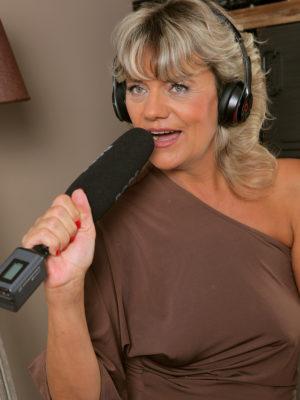 Blond Milf Sherry D is Regarding the Microphone